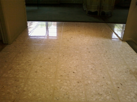 ... have a neatral cleaner, use warm water to clean you terrazzo tile