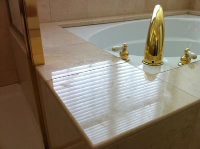 Etch mark on marble tub.