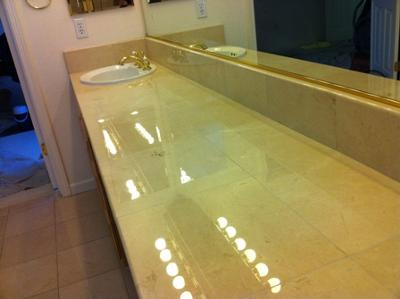 Honed and polished marble vanity countertop.