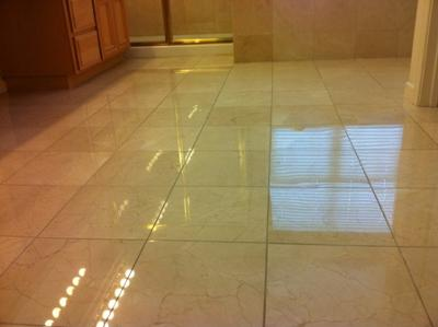 Honed and polished marble floor.