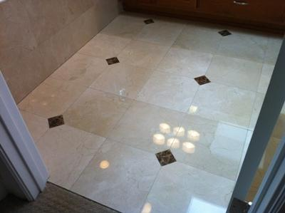 Polished Marble Floor with Marble Inlays